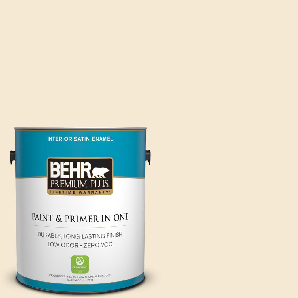 BEHR Premium Plus 1-gal. #YL-W7 Smooth Silk Satin Enamel Interior Paint