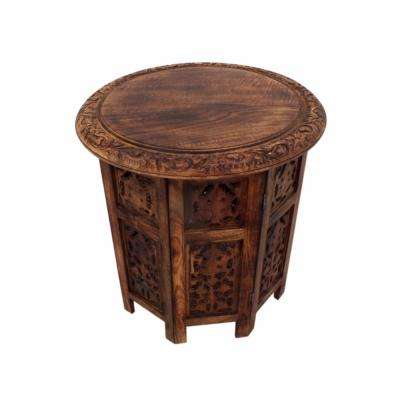 Brown Wooden Hand Carved Folding Accent Coffee Table