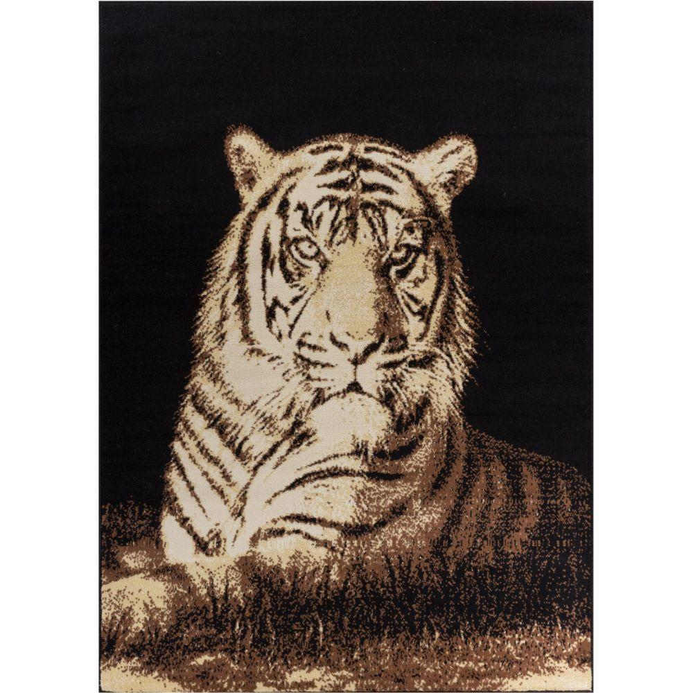 Well Woven Miami Tiger Animal Print Novelty Black 5 Ft. 3
