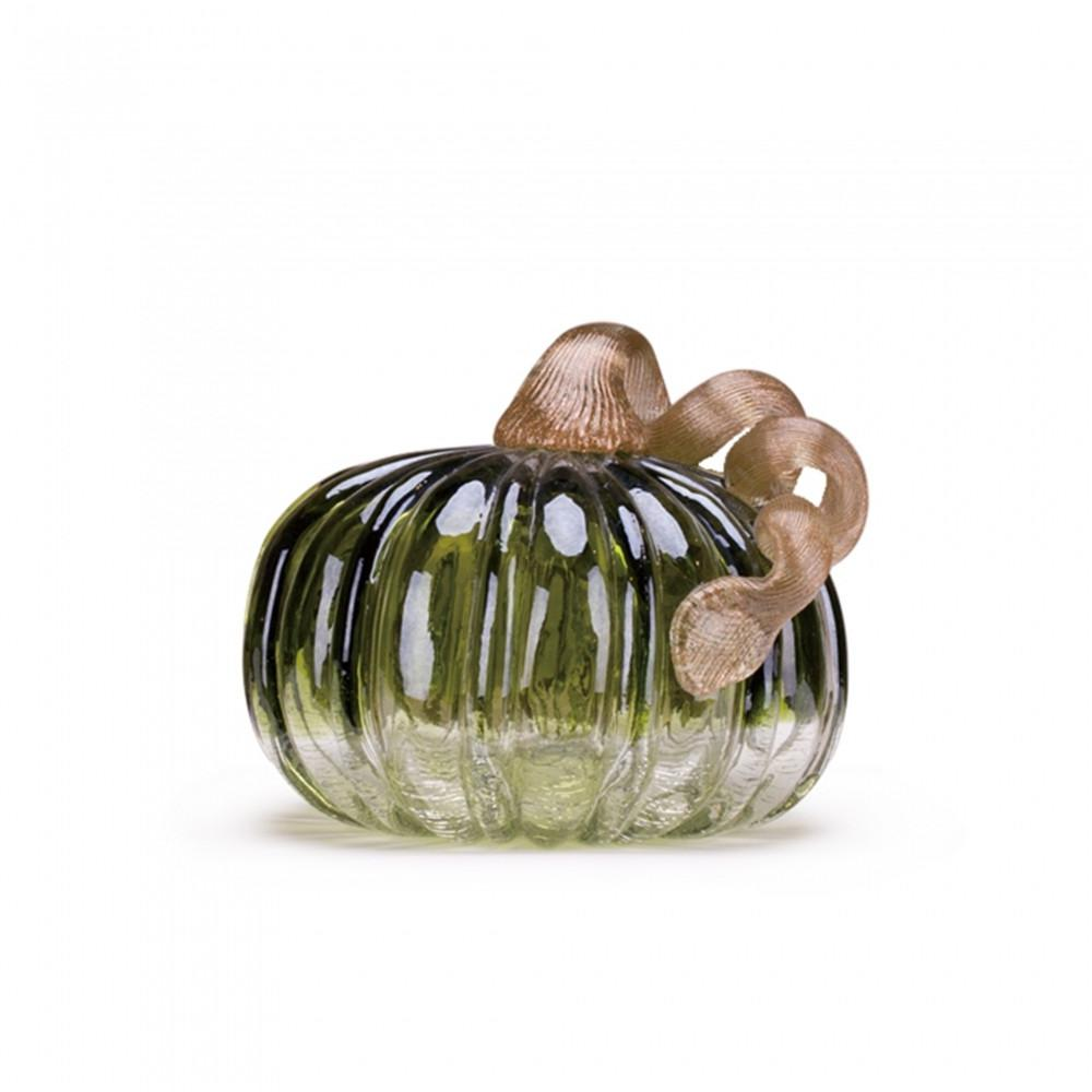 5.72 in. H Green Crackle Glass Short Pumpkin