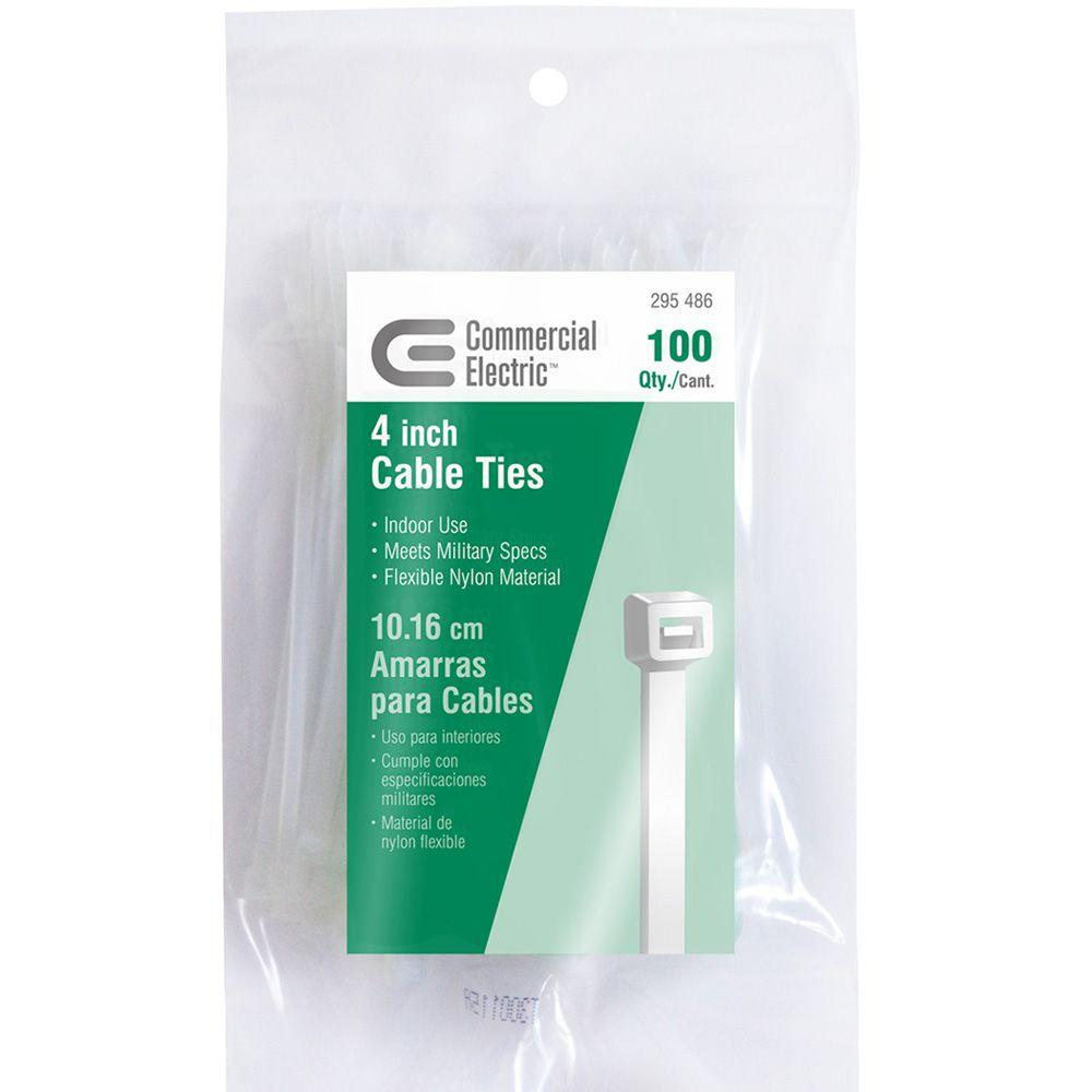 Commercial Electric 4 in. Cable Tie - Natural (100-Pack)