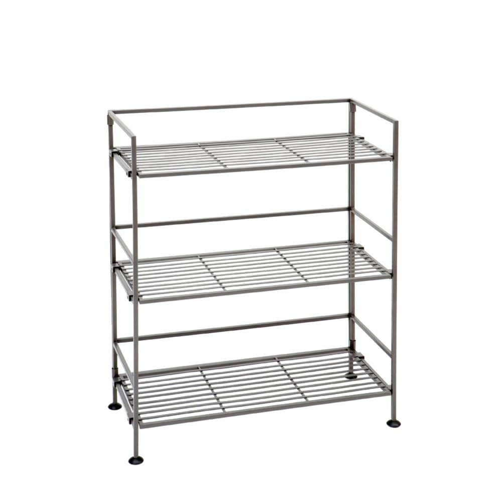 Marvelous Seville Classics Stain Pewter Steel Bookcase