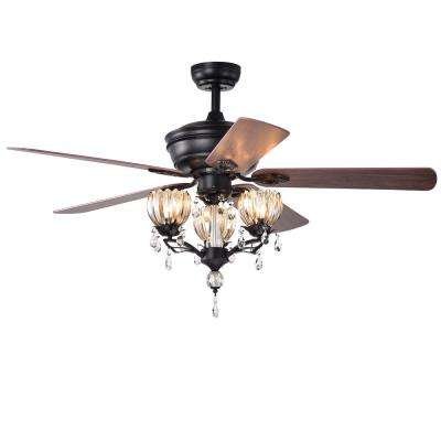 Garlow 52 in. Indoor Matte Black Remote Controlled Ceiling Fan with Light Kit