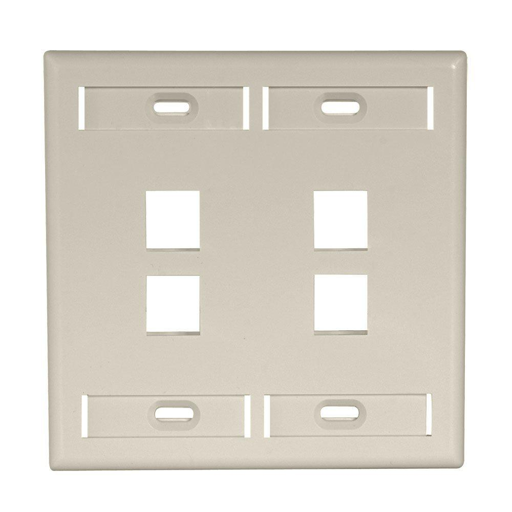 2-Gang Quickport Standard Size 4-Port Wallplate with ID Windows, Ivory