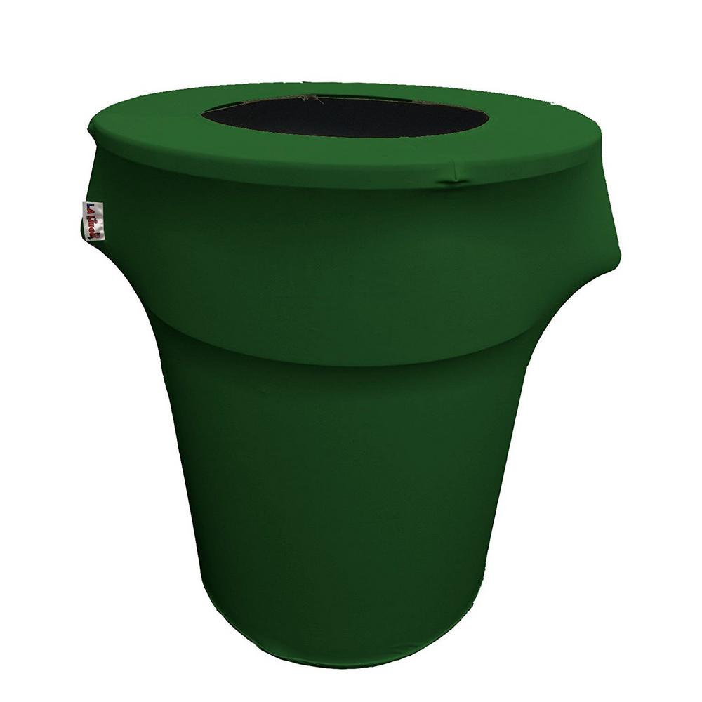 Round Emerald Green Stretch Cover for 55 Gal. Trash Can