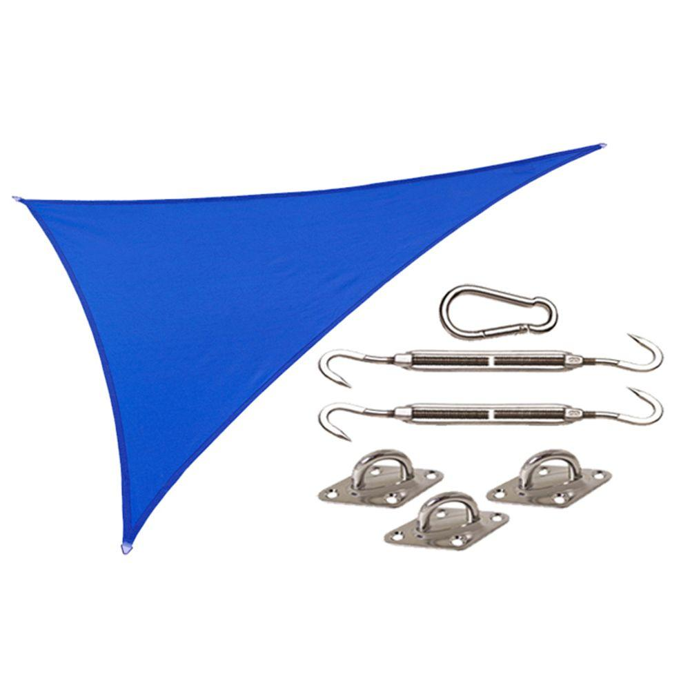 Coolaroo Coolhaven 15 ft. x 12 ft. x 9 ft. Right Triangle Sapphire Shade Sail with Kit