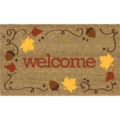 Welcome Acorns 18 in. x 30 in. Coir Door Mat