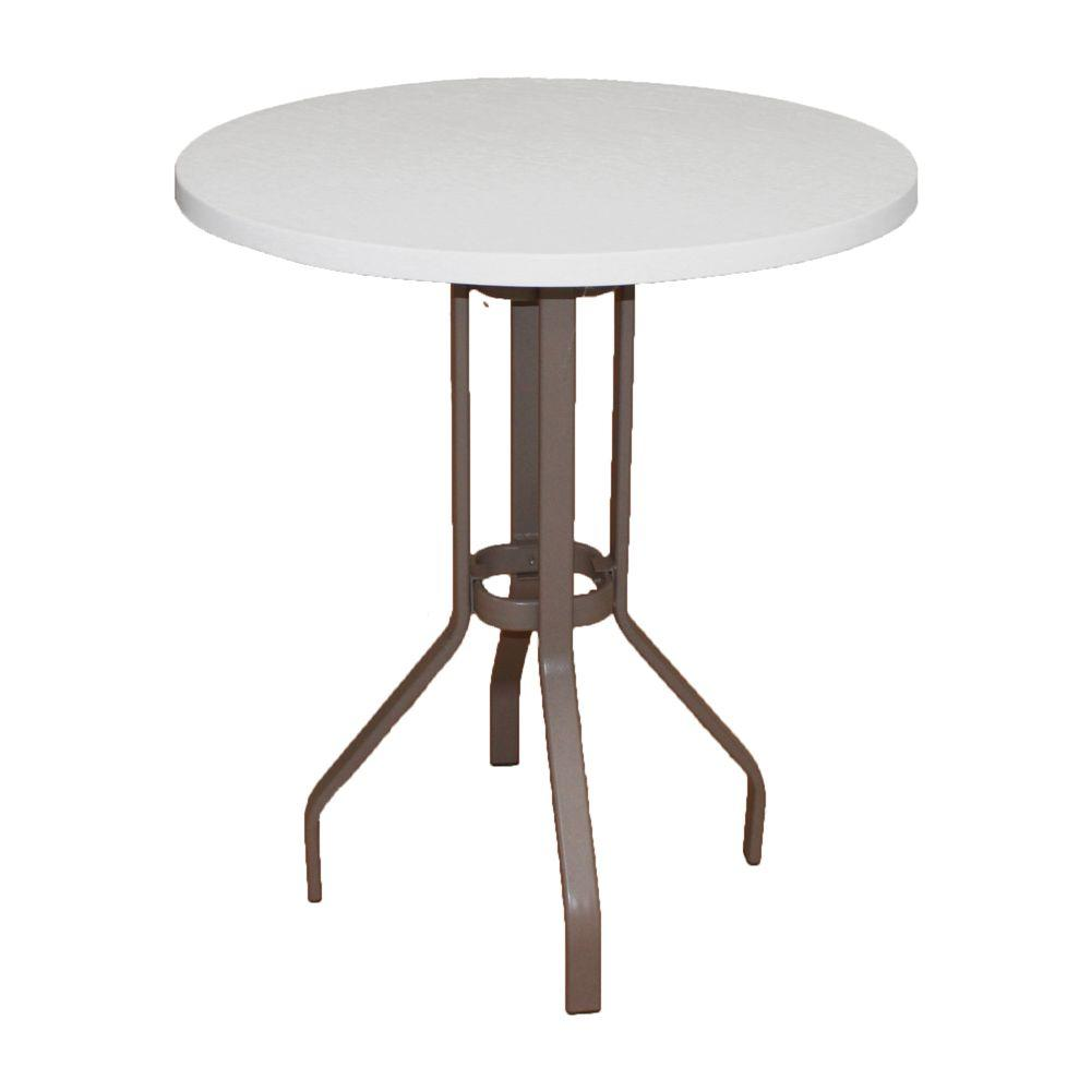 Marco Island In Brownstone Round Commercial Fiberglass Top Bar - 36 round outdoor dining table