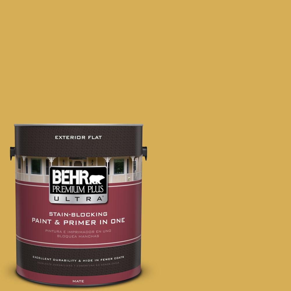BEHR Premium Plus Ultra 1-gal. #370D-6 Golden Cricket Flat Exterior Paint