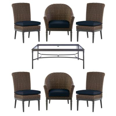Camden 7-Piece Seagrass Light Brown Wicker Outdoor Patio Dining Set with CushionGuard Midnight Navy Blue Cushions