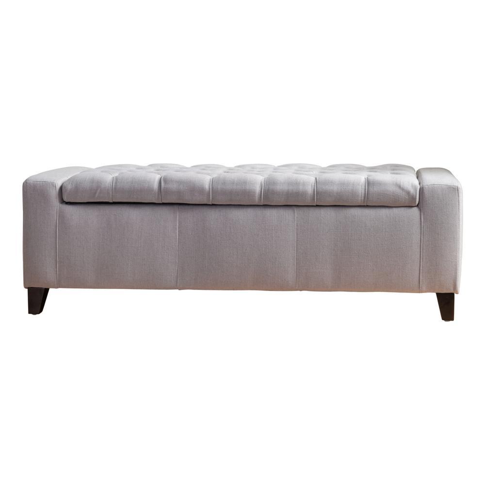 Hikaru Tufted Light Gray Fabric Storage Bench