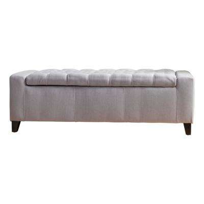 Hikaru Tufted Light Gray Fabric Storage Bench