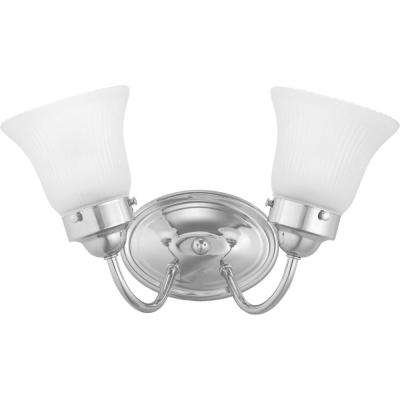 Fluted Glass Collection 2-Light Chrome Vanity Light