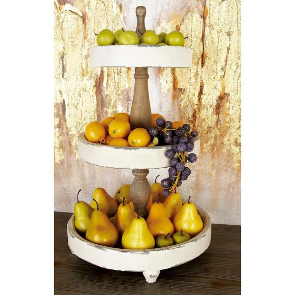 Litton Lane 15 in. x 25 in. Off White and Oak Brown 3-Tiered Round Tray Stand