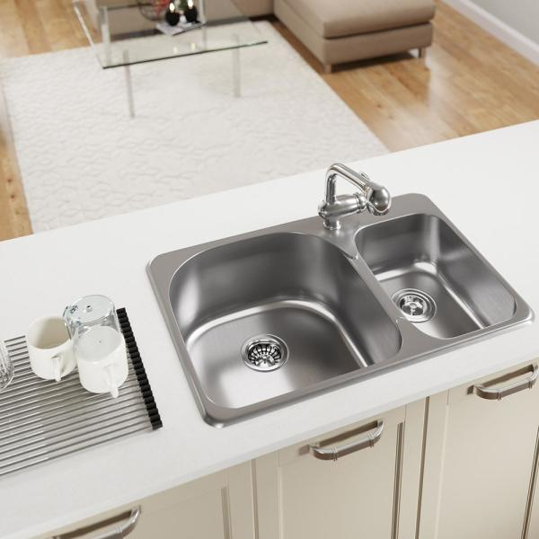 Mr Direct Drop In Stainless Steel 31 1 2 In 1 Hole 60 40 Double Bowl Kitchen Sink Kit T3121l Rg The Home Depot