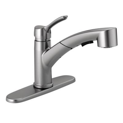 Collins Single-Handle Pull-Out Sprayer Kitchen Faucet in Arctic Stainless