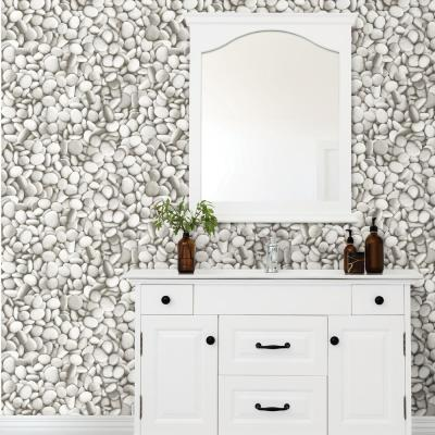 River Stones Peel and Stick Wallpaper Grey Vinyl Peelable Roll (Covers 28.2 sq. ft.)
