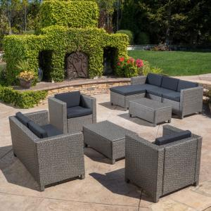 Noble House Puerta Gray 9-Piece Wicker Outdoor Sectional Set