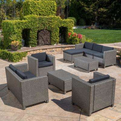 Puerta Gray 9-Piece Wicker Outdoor Sectional Set with Black Cushions