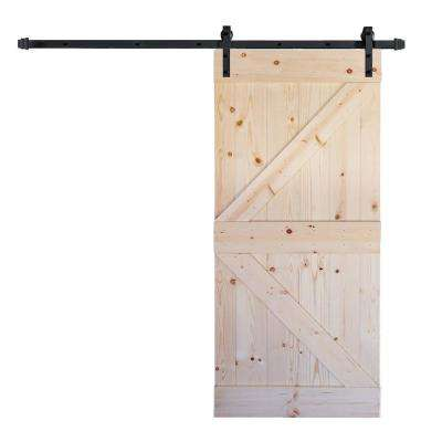36 in. x 84 in. K Series DIY Unfinished Knotty Pine Wood Barn Door with 6.6 ft. Sliding Door Track Hardware Kit