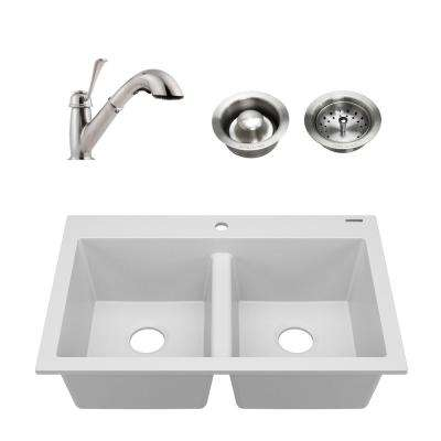 Whitney All-in-1 Drop-in Granite Composite 33 in. 1-Hole 50/50 Double Bowl Kitchen Sink with Faucet in Matte White