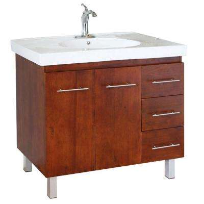 Midlands W 40 in. Single Vanity in Walnut with Porcelain Vanity Top in White