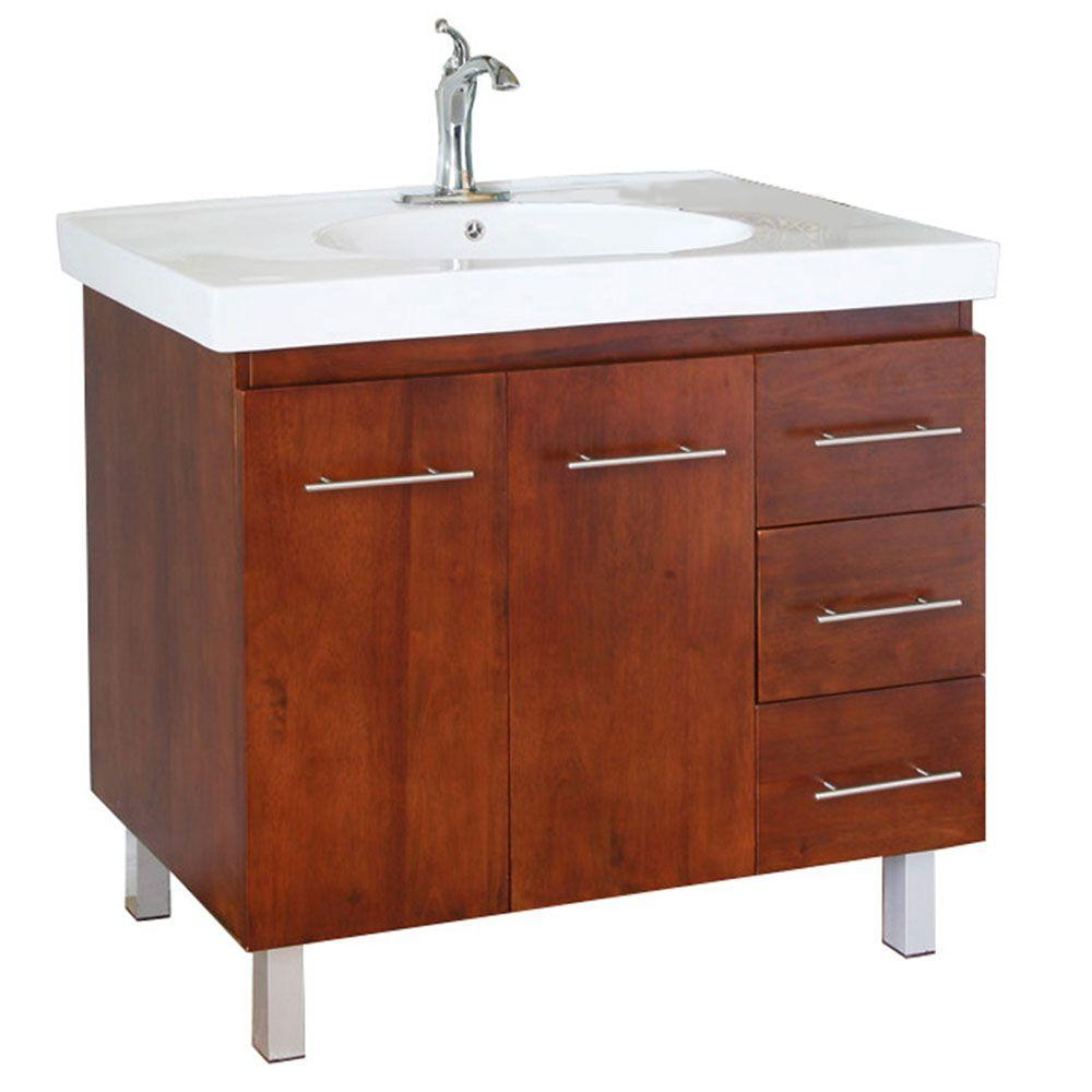Attrayant Bellaterra Home Midlands W 40 In. Single Vanity In Walnut With Porcelain  Vanity Top In