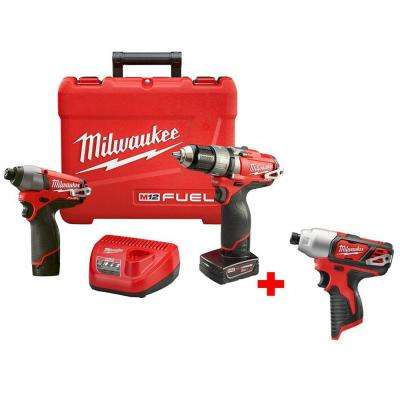 M12 FUEL 12-Volt Lithium-Ion Brushless 1/2 in. Hammer Drill/Impact Combo Kit with Free M12 1/4 in. Hex Impact Driver