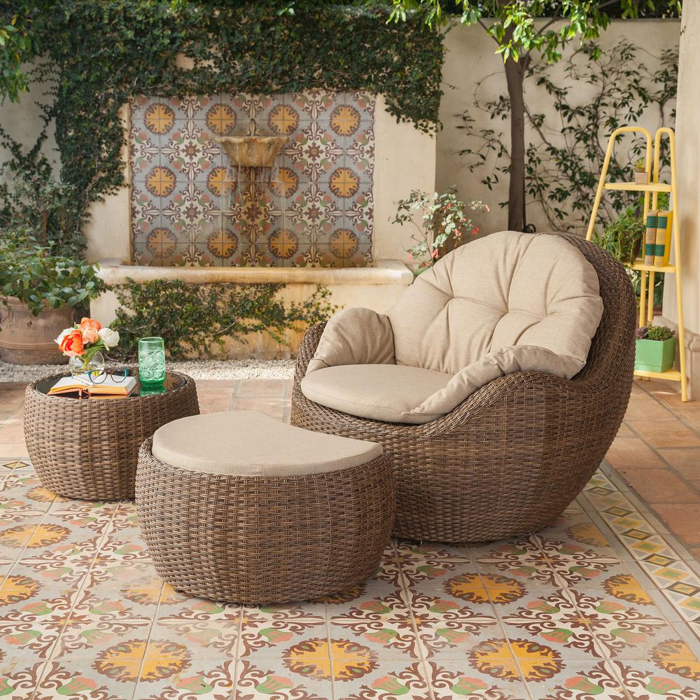 Greta Ottoman 3-Piece Wicker Patio Lounge Chair with Beige Cushions