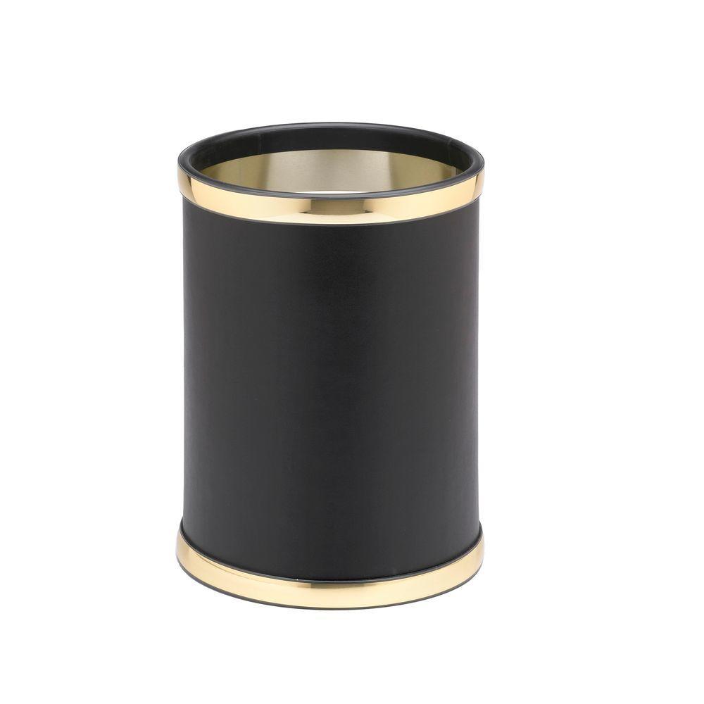 Sophisticates 8 Qt. Black with Polished Brass Round Waste Basket