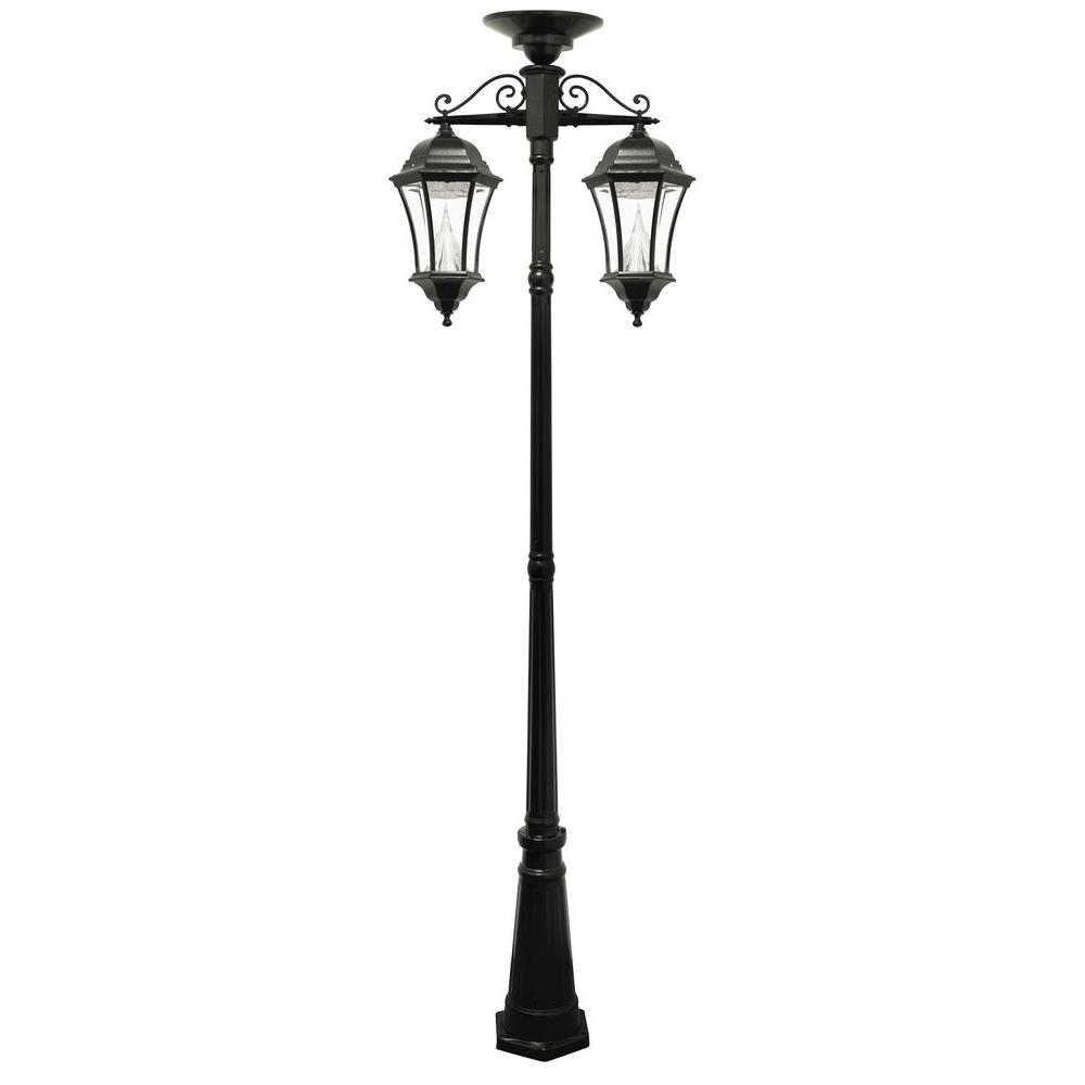 Victorian Series 2-Head Downward-Hanging Black Integrated LED Outdoor Solar Lamp
