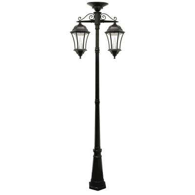 Victorian Series 2-Head Downward-Hanging Black Integrated LED Outdoor Solar Lamp Post
