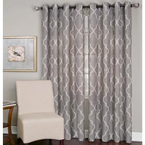 Semi-Opaque Medalia Stone Grommet Top Window Curtain Panel - 52 inch W x 108 inch L by