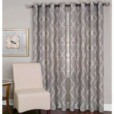 Medalia Stone Grommet Top Window Curtain Panel - 52 in. W x 84 in. L