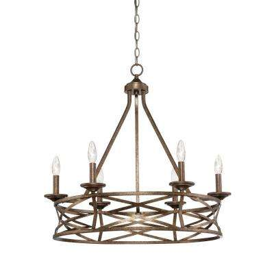 6-Light Vintage Gold Chandelier