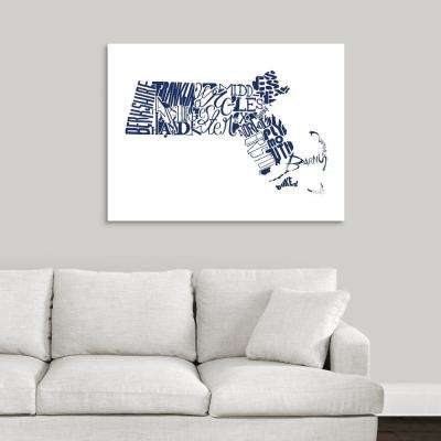 """""""Massachusetts Typography map"""" by  Jace Grey Canvas Wall Art"""