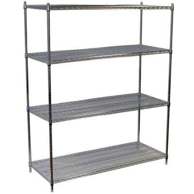 74 in. H x 60 in. W x 24 in. D 4-Shelf Steel Wire Shelving Unit in Chrome