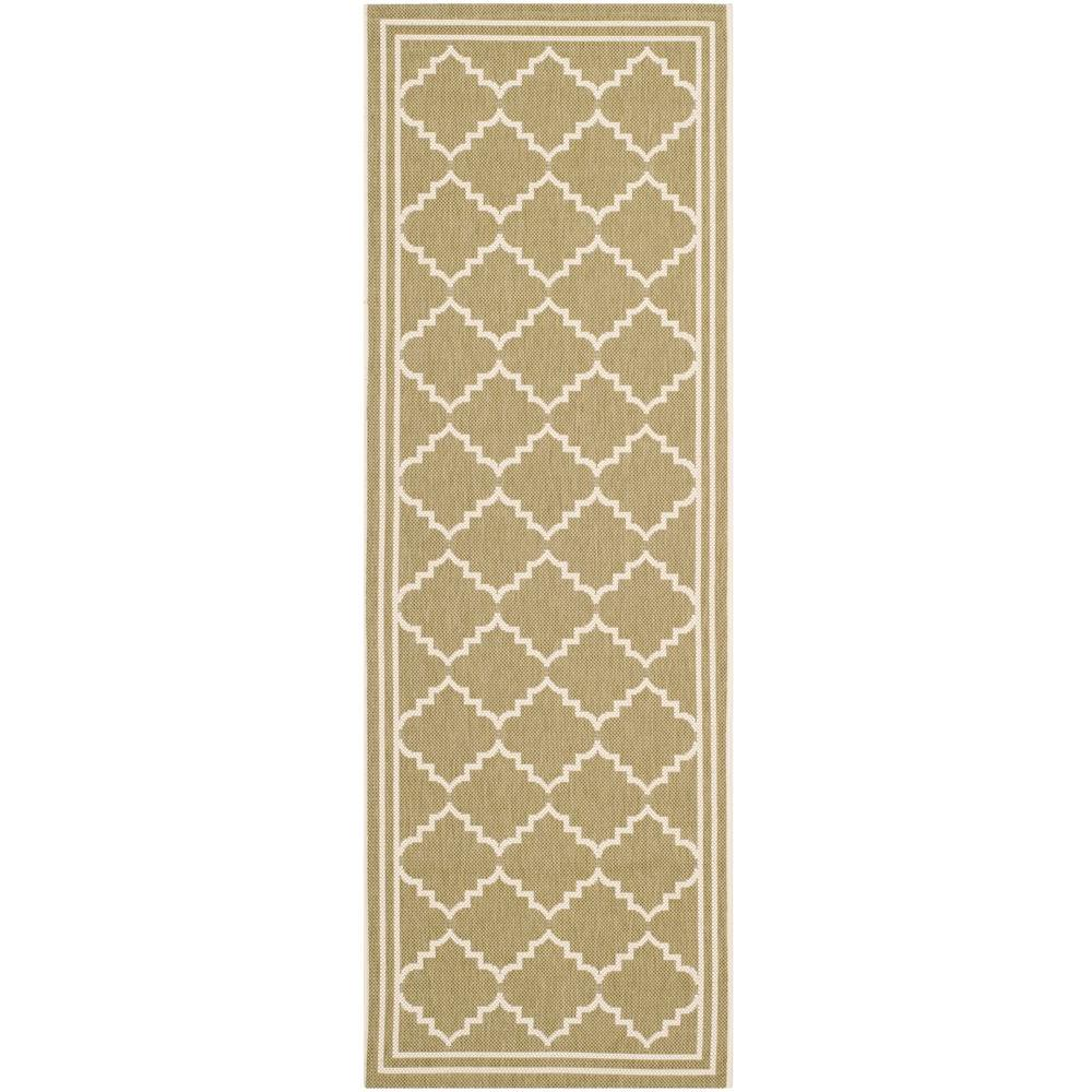 Courtyard Green/Beige 2 ft. 3 in. x 10 ft. Indoor/Outdoor Runner