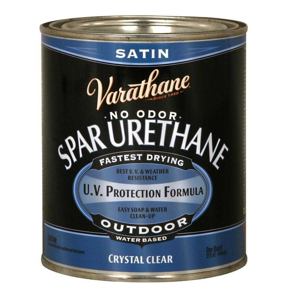 Varathane 1 qt clear semi gloss water based outdoor spar urethane 250141h the home depot for Exterior polyurethane wood finish