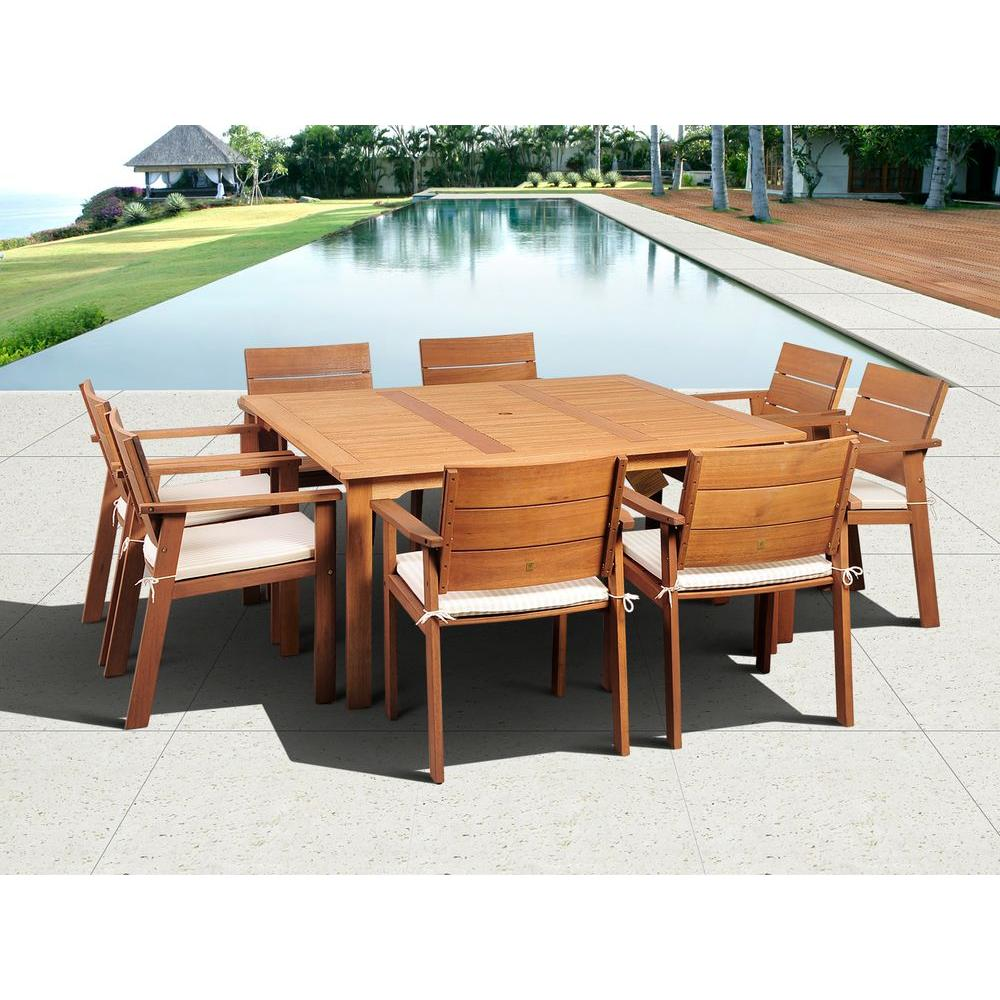 Atlantic Contemporary Lifestyle Nelson 9-Piece Square Eucalyptus Wood Patio Dining Set with Off-White Cushions