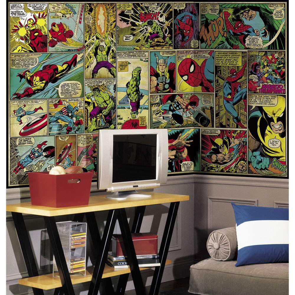RoomMates 72 in. x 126 in. Marvel Classics Comic Panel Ultra-Strippable Wall Mural