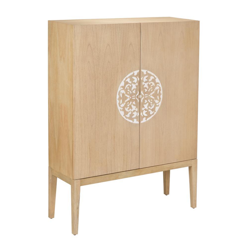Hazel Light Woodtone with White Inlay Cabinet