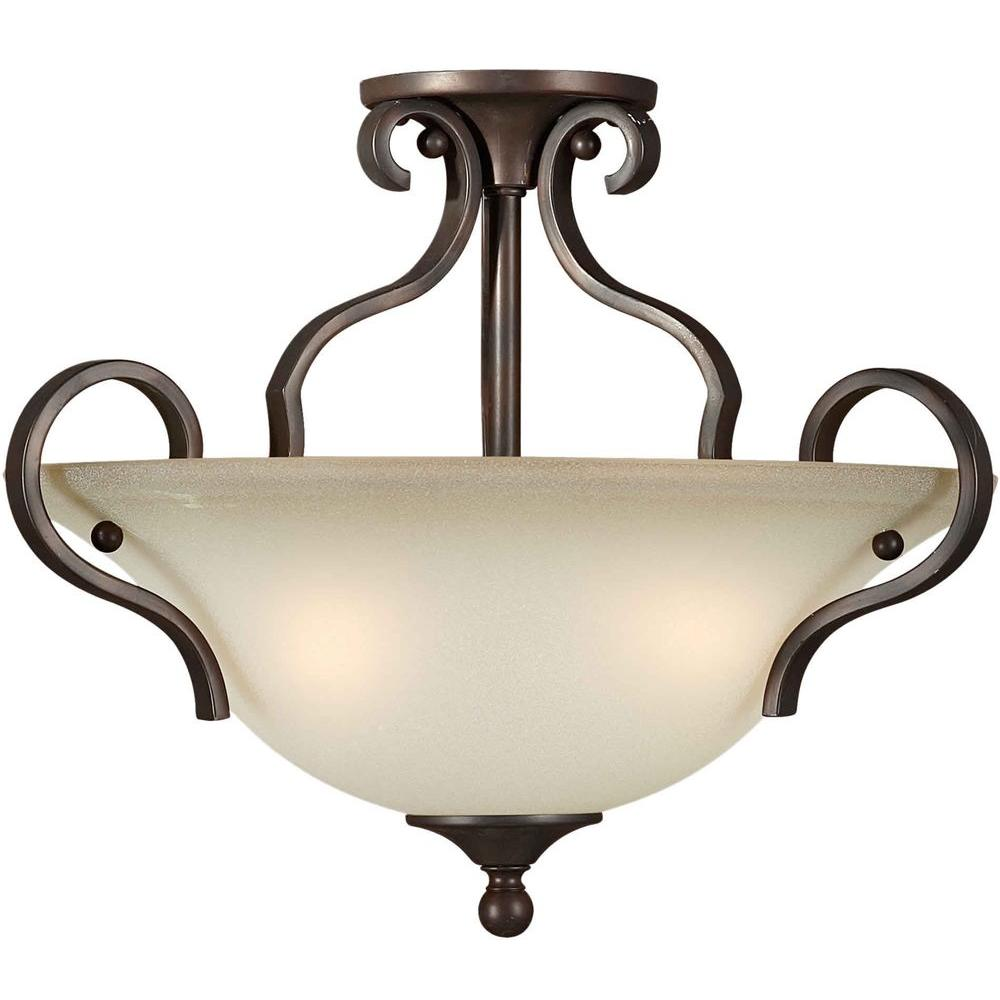 Talista 3-Light Antique Bronze Semi-Flush Mount Light with Shaded Umber Glass
