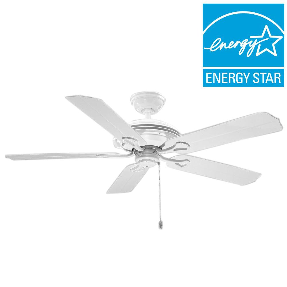Hunter White Fan Part - 16: Hunter Mariner 52 In. Indoor/Outdoor White Ceiling Fan-59127 - The Home  Depot