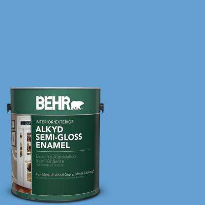1 gal. #P520-4 Cornflower Semi-Gloss Enamel Alkyd Interior/Exterior Paint