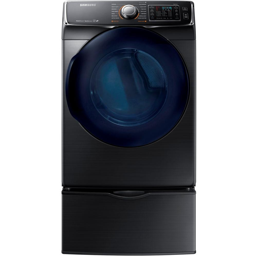 7.5 cu. ft. Gas Dryer with Steam in Black Stainless Steel,