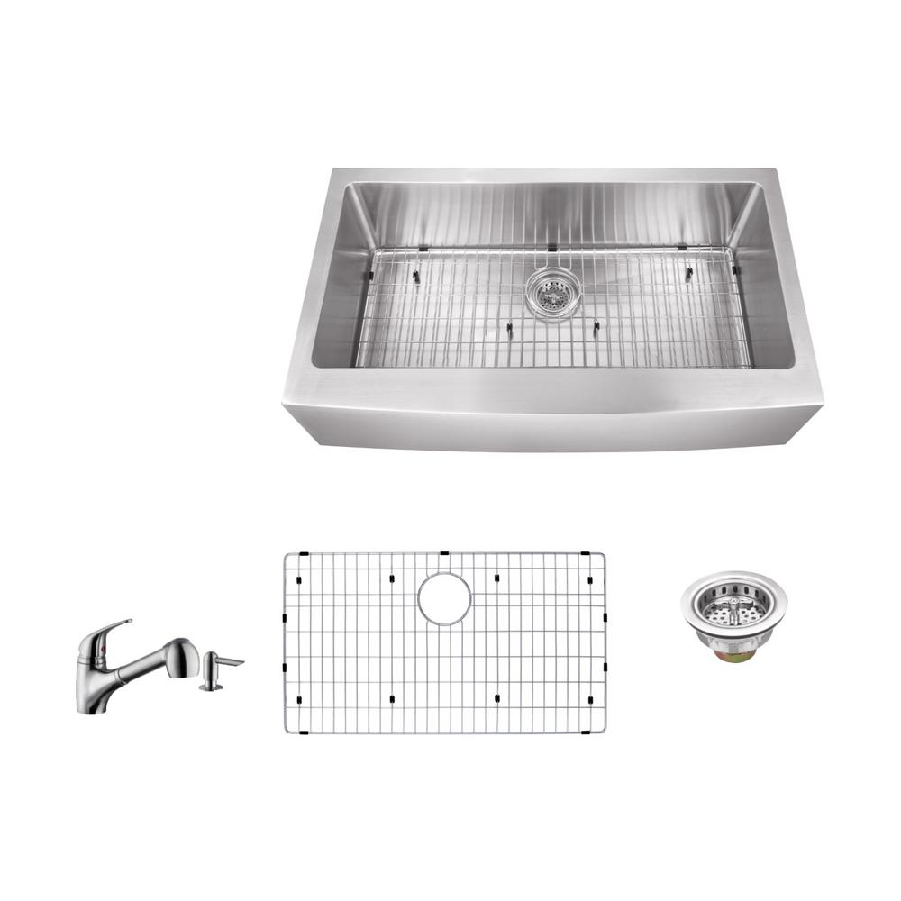 Apron Front 33 in. 16-Gauge Stainless Steel Single Bowl Kitchen Sink