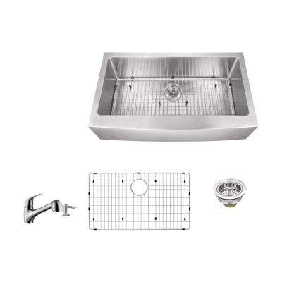 Apron Front 33 in. 16-Gauge Stainless Steel Single Bowl Kitchen Sink in Brushed Stainless with Pull Out Kitchen Faucet