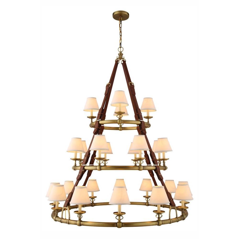 Cascade 24-Light Burnished Brass Pendant Lamp