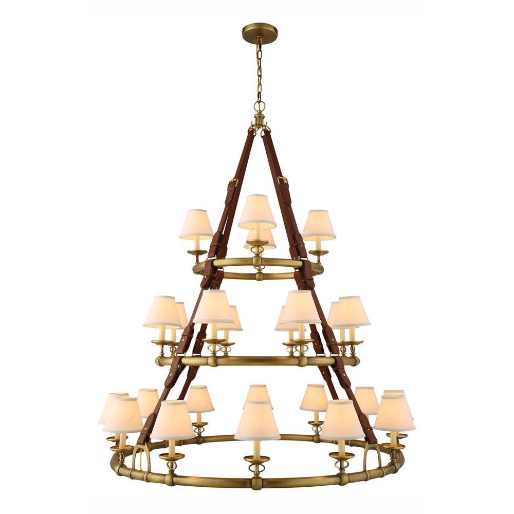 Cascade 24-Light Burnished Brass Pendant Lamp